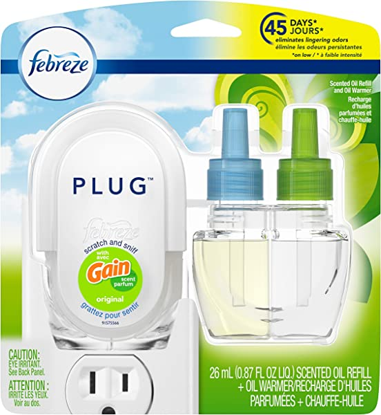 Febreze Plug In Air Freshener With Warmer Scented Oil Refill Gain Original 0 87 Ounce