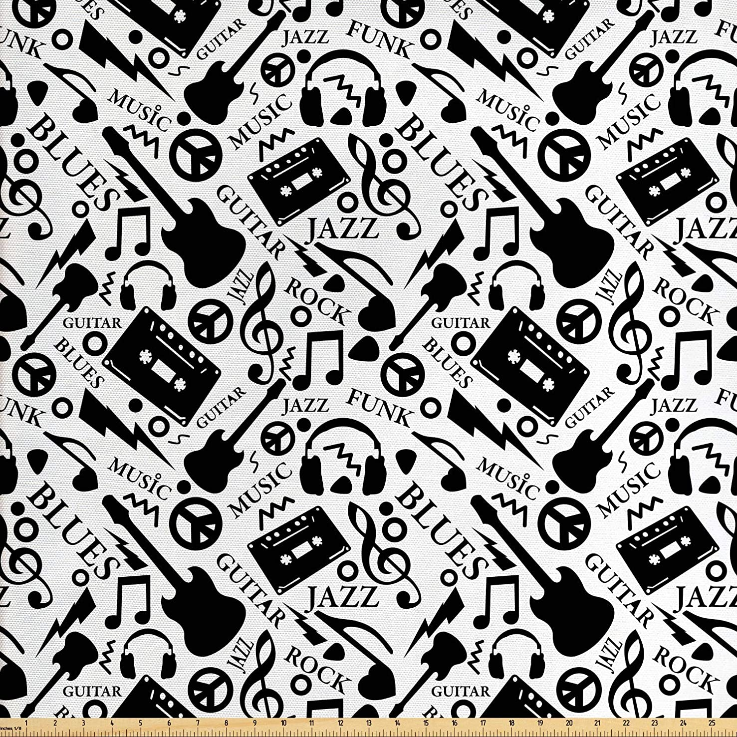 Ambesonne Music Fabric by The Yard, Blues Jazz Punk Rock Various Type of Folk Indie Rap Reggae Peace Sign Sing Artwork, Decorative Fabric for Upholstery and Home Accents, 1 Yard, Black White