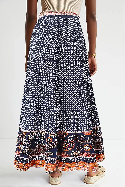 LÄTT Dress Women Casual Boho Maxi Skirt with Drawstring Control and Pockets