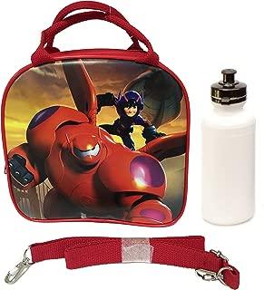 Disney New 2014 Hit Movie Big Hero 6 Baymax Hero Lunch Box Bag w/Shoulder Strap + Water Bottle - Red