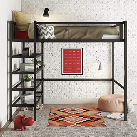 Amazon Com Dhp Tiffany Storage Loft Bed With Book Case Includes Shelves And Under Bed Clearance Black Metal Twin Furniture Decor