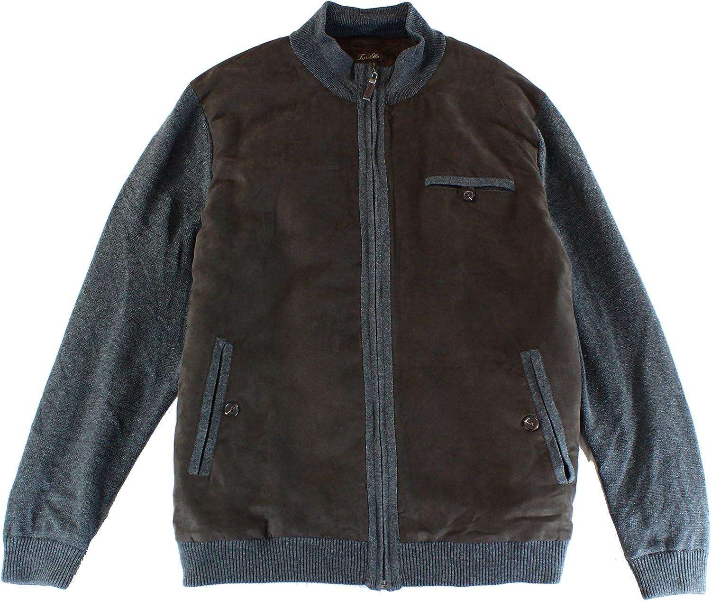 Tasso Elba Mens Faux-Suede Knit Bomber Jacket
