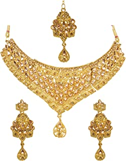 Bindhani Indian Wedding Jewelry Bollywood Style Gold Plated Bridal Bridemaids Kundan Choker Necklace Earrings Tikka Jewell...