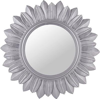 Homesake® Sunburst Decorative Wooden Handcarved Wall Mirror, Elegant Silver