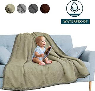 PAVILIA Waterproof Blanket | Water Resistant, Pee Proof Couch Sofa Bed Protector Cover for Baby, Elders | Premium Soft Plush Sherpa Fleece Throw and Blanket 60x80 Inches, Taupe