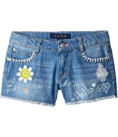 Tommy Hilfiger Kids - Denim Shorts with Art and Patches in Mirage Blue (Little Kids/Big Kids)