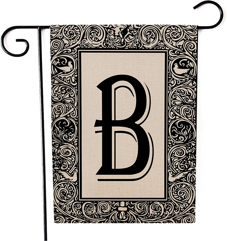 Kissenday Monogram Linen Garden Flag, 12.5x18 Inch Vertical Double Sided, Last Name Initial Letter B Banner Flag Yard Outdoor Decor