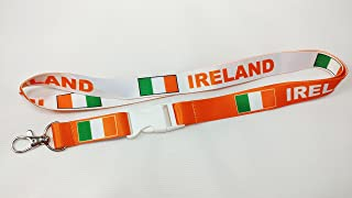 Ireland Flag Reversible Lanyard Keychain with Quick Release Snap Buckle and Metal Clasp - ID Lanyard for Keys, Badges, USB - ID Holder Keychain for Women, Men, Kids (Orange or White, 1 Lanyard)