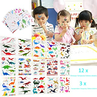 Kare & Kind Temporary Tattoos for Boys, Kids, Children - Dinosaur and Transportation Designs - 15 Sheets (190 pcs) - Dinosaur and Transportation Tattoo Stickers - Party Supplies, Decoration, Gift