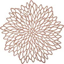 6 Pack Rose Gold Metallic Round Placemats Laminated Vinyl Leaf Dining Table Decorative By Snowkingdom