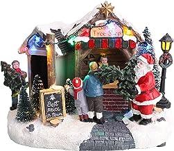 "Christmas Concepts® LED Light Up Christmas Village Scene - 8"" / 20cm Santa's Tree Shop"