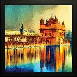 PRINTELLIGENT Golden Temple Wall Painting Frame 10 inch x 10 inch