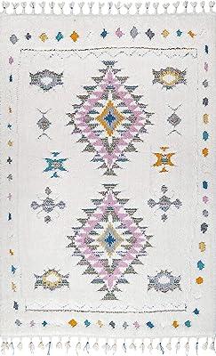 "nuLOOM Lila Tribal Moroccan Shag Runner Rug, 2' 6"" x 12', White"