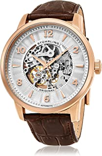 Stuhrling Men's Silver Dial Leather Band Watch - 776.03