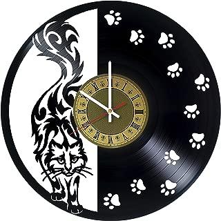 Pieceful Black Cat vinyl wall clock - gift idea for girls women friends girlfriend and teens - home & office bedroom wall decor