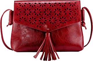 Elios Red Hollow Out Carving Casual College Crossbody Sling Bag With Decorative Tussel For Women And Girls