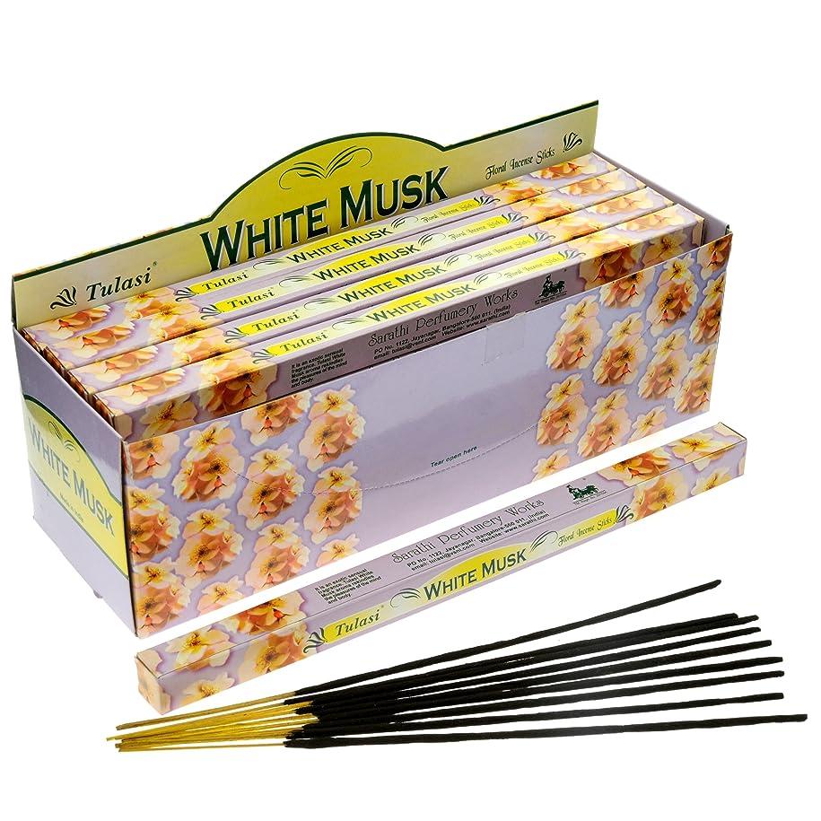 連隊差し控える救いTulasi Incenseホワイトムスク8スティックSquare Pack