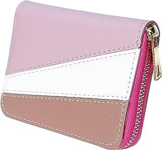 Elios Geometric Pattern Small Card Holder Zip Around Purse Wallet for Women (Pink)