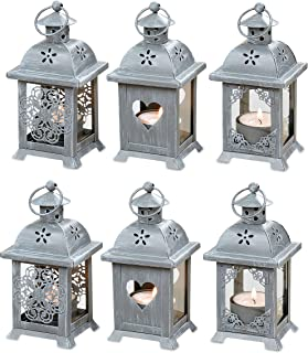 WHW Whole House Worlds Romantic French Country Style Hearts, Flowers and Lace, Candle Lanterns, Set of 6, LED Tea Light Holders, 2 3/4 x 2 3/4 x 5 1/2 Inches (7 x 7 x 14 cm), Gray Metal and Glass