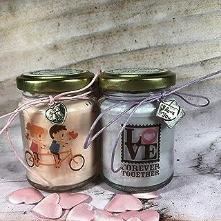 Ti amo Frasi d'Amore 2 vasetti con candele di cera di soia e oli essenziali Anniversario Fidanzamento Proposta di Matrimon...