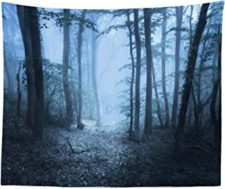 "Lunarable Forest Tapestry King Size, Mysterious Forest Foggy Spooky Atmosphere Wet Humid Fantasy Nature Scene, Wall Hanging Bedspread Bed Cover Wall Decor, 104"" X 88"", Blue Bluegrey"