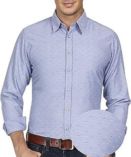 PAUL JONES Men's Stylish Pinstripe Pattern Long Sleeve Point Collar Dress Shirt