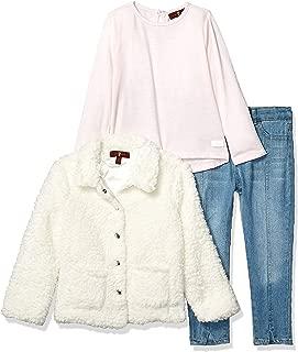 Girls' Toddler Sherpa Jacket, Long Sleeve Jersey Shirt and Jean Set