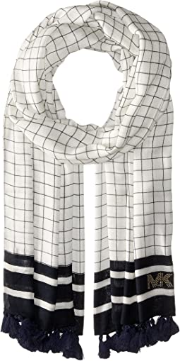 MICHAEL Michael Kors - Windowpane Printed Oblong with Tassels