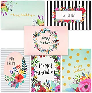48 Pack Happy Birthday Greeting Cards - 6 Unique Colorful Birthday Cards for Her Watercolor Floral Flower Designs Bulk Box...