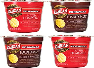 Idahoan Microwavable Instant Mashed Potatoes Variety Bundle: (2) Buttery Homestyle 1.5oz/ea and (2) Loaded Baked 1.5oz/ea (4 Pack Total) - Gluten Free