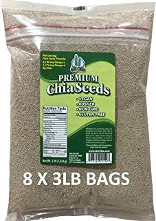 Get Chia Brand WHITE Certified Organic Chia Seeds - 24 TOTAL POUNDS = EIGHT x 3 Pound Bags