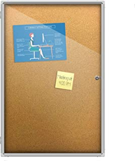Thornton's Office Supplies Indoor Aluminum Frame Wall Mount Enclosed Cork Bulletin Board with Locking Door (36 x 24)