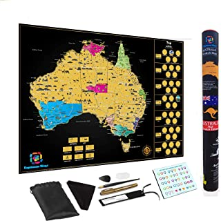 Large Premium Scratch Off Map Of Australia Poster Deluxe Adventure Personalised Travel by Kaleidoscope World Large 82 x 60...