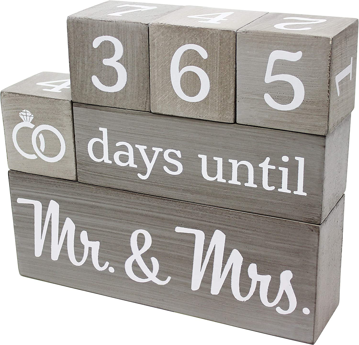 Wedding Countdown Calendar Max 51% OFF Wooden Blocks Engagement Free Shipping Cheap Bargain Gift Gifts - Br