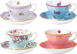 Royal Albert Candy Teacup and Saucer Set, Set of 4, Multicolor