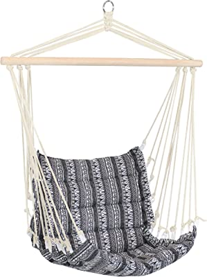 Sunnydaze Padded Hammock Chair - Comfortable Outdoor Hanging Chair - Polycotton Fabric with Hardwood Spreader Bar - Perfect for Lawn, Balcony or Patio - Boho Print