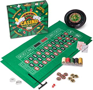 Casino Game Night   4-in-1 Gambling Game Set   Texas Hold 'Em, Blackjack, Roulette, and Craps   Includes Roulette Wheel, 2 Double-sided Mini Felts, 100 Poker Chips, Craps Dice, Playing Cards, and More