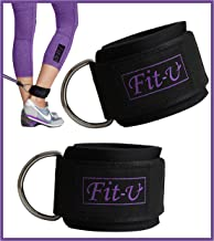 Padded Ankle Strap by FIT-U (2 - Pack) Perfect For Cable Machine Workout Fitness Cuffs For Ab, Glut & Leg Fit For Women & Men Weights Exercises