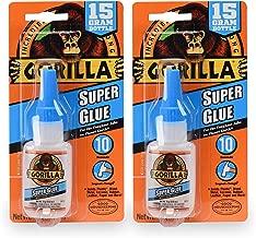 Gorilla Super Glue 15 Gram, Clear, (2 Pack)