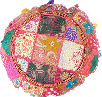 """Handmade Tie Dye Floor Cushions with Insert 32/"""" Spiral Round Ottoman Pouf Cover"""