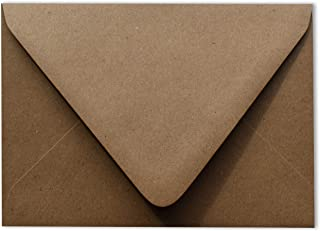 Grocery Bag Brown 50 Boxed A7 Euro Flap 80lb Envelopes 5-1/4 x 7-1/4 for 5 x 7 Greeting Cards Invitations Announcements We...