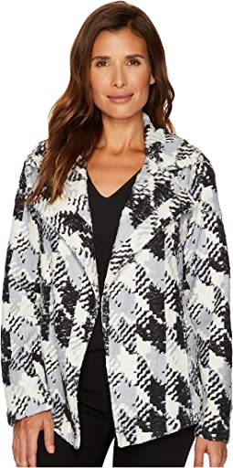 Broken Houndstooth Faux Fur Coat