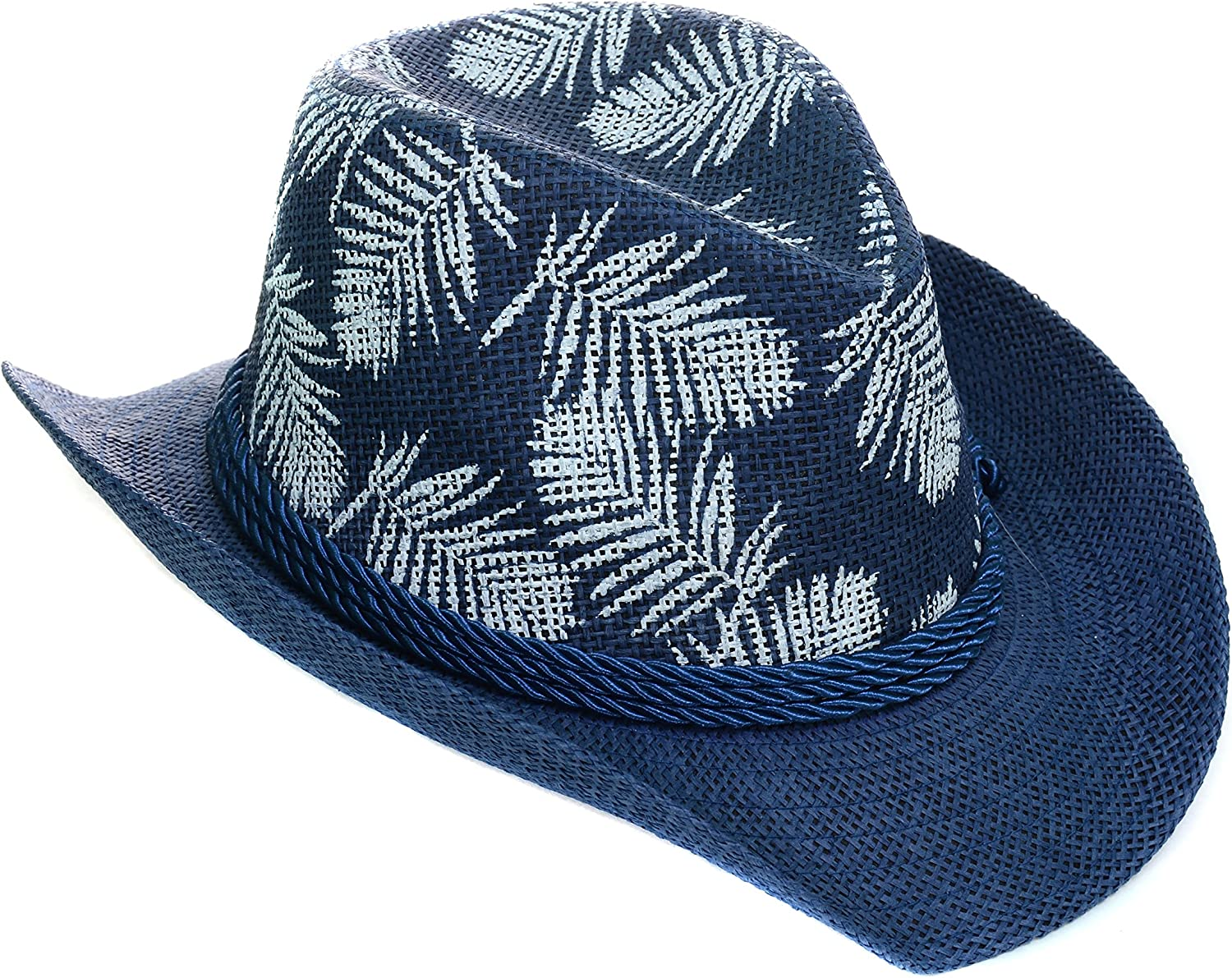 Fourever Funky Palm Trees Stars Navy Beige Drifter Cowboy Hat Unisex
