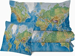 Sleepwish 3D Map Comforter Set Ultra Soft Print Bedding for Full Size Bed 4 Pieces Bedding Sets for College Dorm Teen 1 Reversible Comforter 2 Pillow Cases 1 Cushion Cover