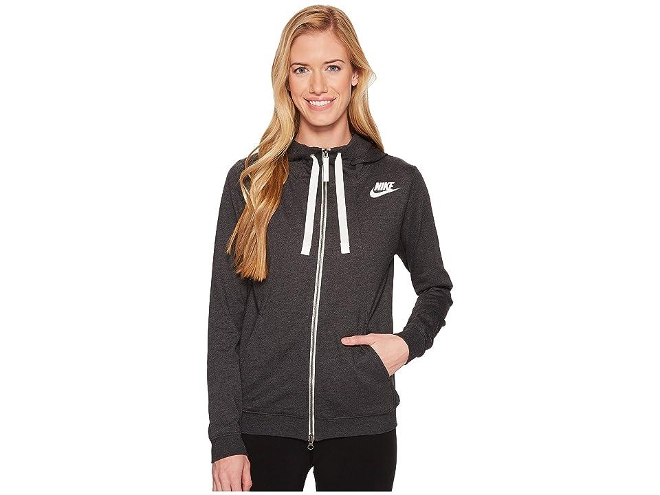 Nike Sportswear Gym Classic Full Zip Hoodie (Black Heather/Sail) Women
