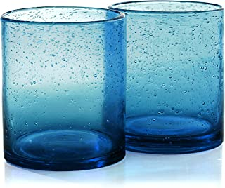 Artland Iris Seeded Turquoise 14 Ounce Double Old Fashioned Glass, Set of 6