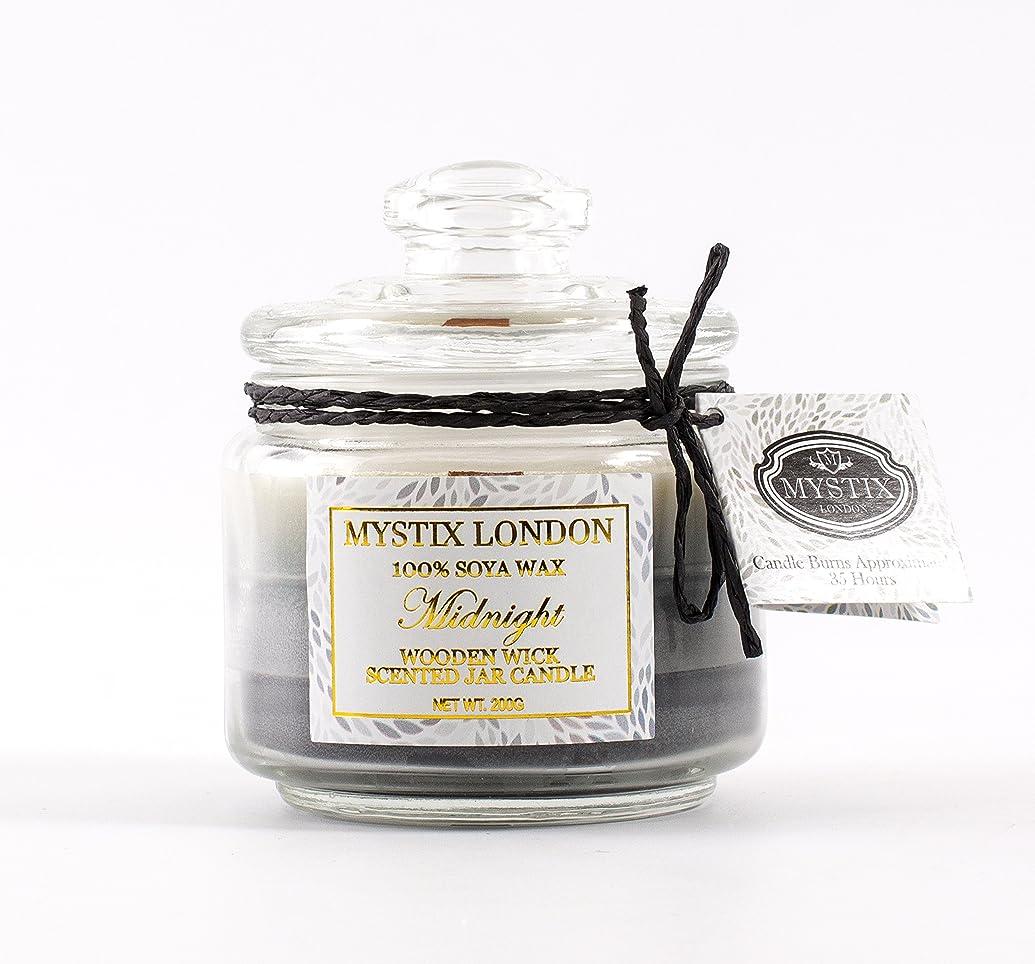 敬の念複製する焼くMystix London | Midnight Wooden Wick Scented Jar Candle 200g