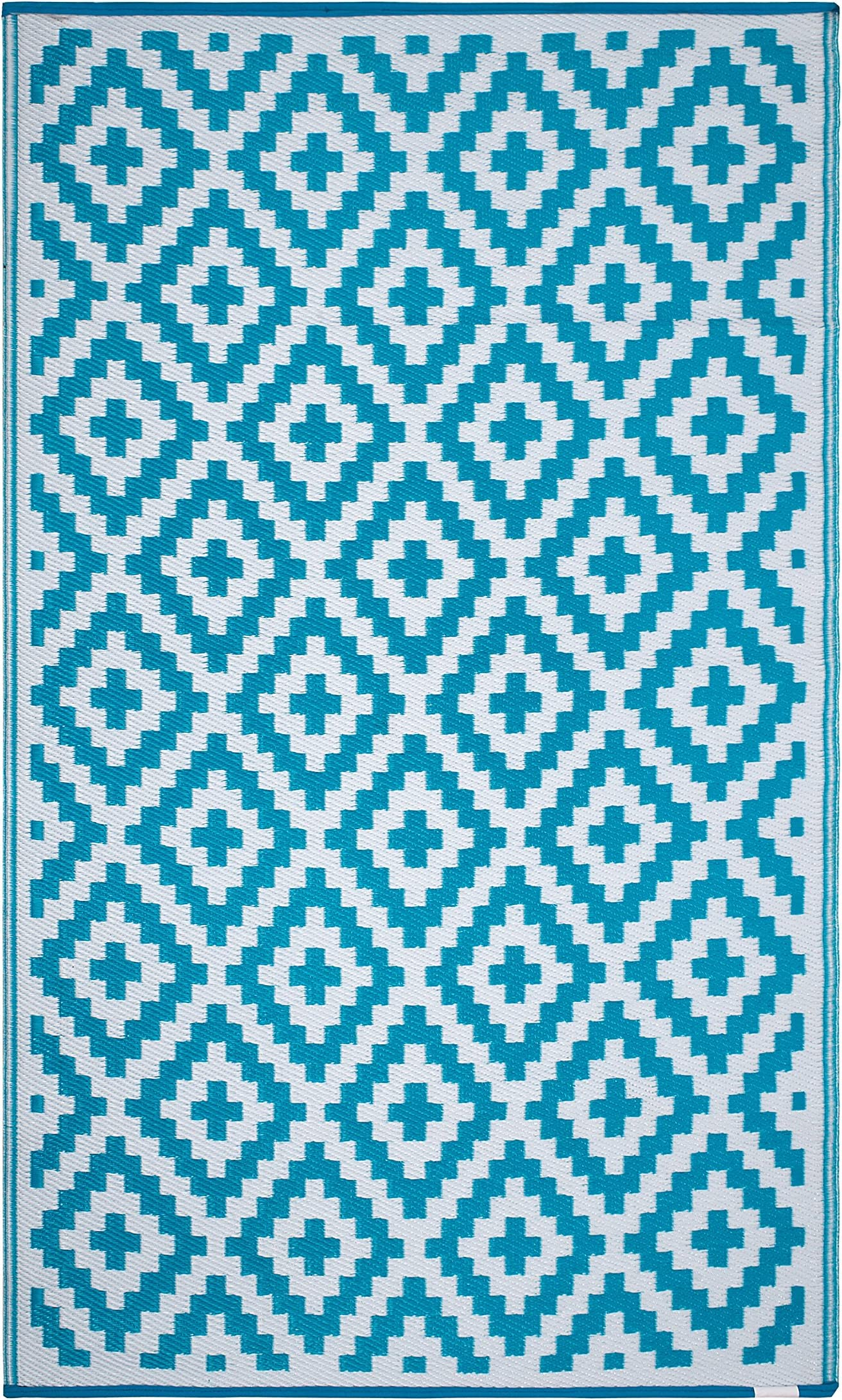FH Home Outdoor Rug - Reversible - Indoor Use, Kids Room, Mudroom - Stain Resistant, Easy to Clean Weather Resistant Floor Mats - Aztec - Teal and White (6 ft x 9 ft)