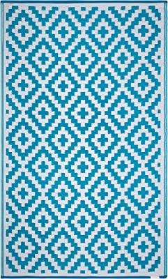 FH Home Indoor/Outdoor Recycled Plastic Floor Mat/Rug - Reversible - Weather & UV Resistant - Aztec -, Polypropylene, Teal and White, 3 ft x 5 ft