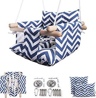 Cateam Canvas Baby Swing Blue - Wooden Hanging Swing Seat Chair for Baby with Safety Belt and mounting Hardware. Baby Hamm...